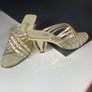 Onex Silver & Gold Slides with Unique Heel!